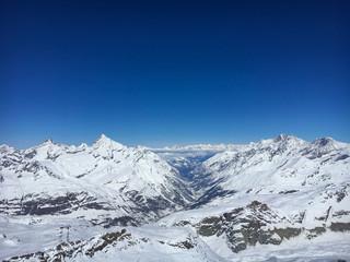 Panoramic view of Matter valley and Zermatt, Switzerland