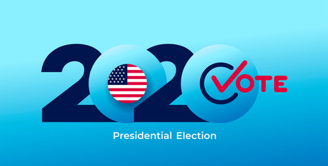 2020 United States of America presidential election logo. Text design pattern. Vector illustration. Isolated on blue background.