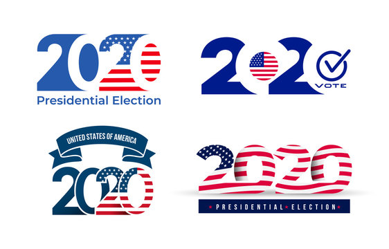 2020 United States of America presidential election logo. Text design pattern. Vector illustration. Isolated on white background.
