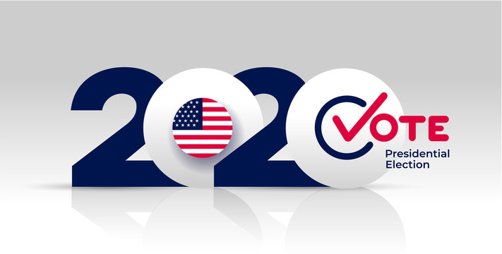 Election header banner 2020 United States of America Presidential election. With Patriotic Stars and Stripes Theme. Vote Design logo. Vector illustration. Isolated on white background.