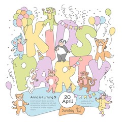 Vector kids party poster template with cheerful boys, girls children in fancy animal, insect costumes. Funny crocodile, elephant monkey panda butterfly and fox dresses on confetti, balloons background