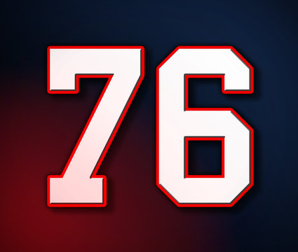 American Football Classic Vintage Sport Jersey Number 76 in white, red and blue colors style look in the colors of the American flag design Patriot / Patriots 3D illustration