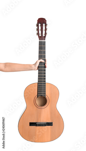 Woman Holding Acoustic Guitar On White Background Closeup Stock