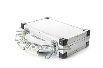Hard case full of money on white background