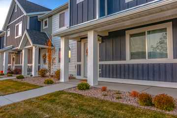 Colorful deep blue homes in Utah Valley suburbs