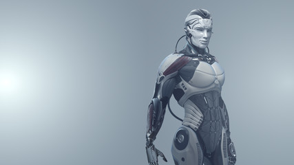 Futuristic male cyborg standing on light background with copyspace, 3d illustration