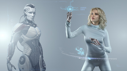 Blonde girl in futuristic suit manipulating virtual reality interface with robot