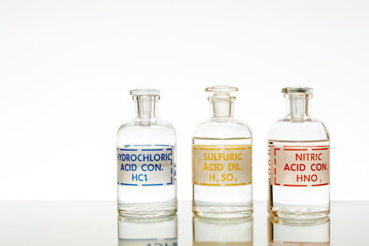 The three common mineral acids used in chemistry, hydrochloric, sulfuric and nitric.