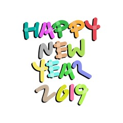 2019 Happy New Year Hand Lettering. Vector Illustration - EPS 10