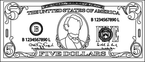 5 US dollar banknote outline
