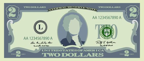2 US dollar banknote