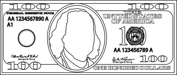 100 US dollar banknote outline