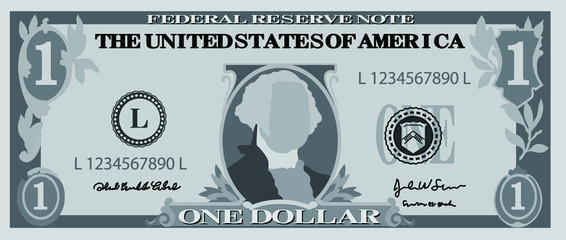 Monochrome 1 US dollar banknote