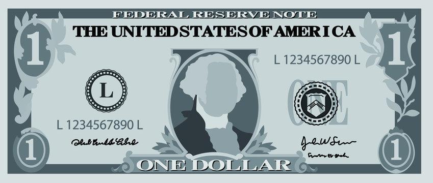 Monochrome 1 US dollar banknote