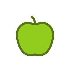 Apple outline color icon, modern minimal flat design style, vector illustration