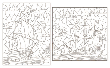Set contour illustrations of stained glass, seascape, ships sailing on the background of the cloudy sky and the sun, dark contours on white background