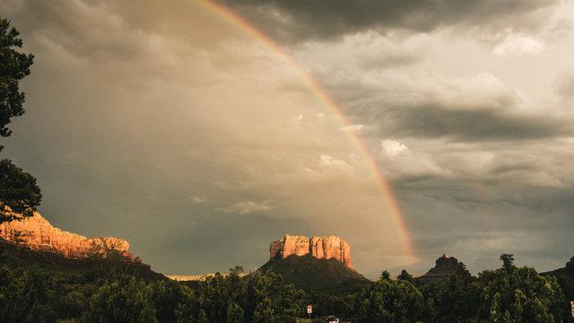 Desert double rainbow