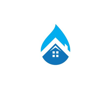 Home and water drop Logo Template