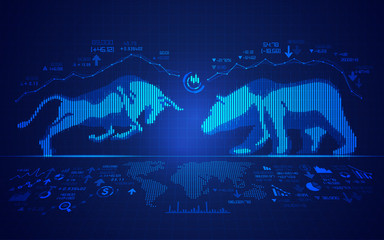 concept of stock market exchange, graphic of bull and bear combined with candlestick Wall mural
