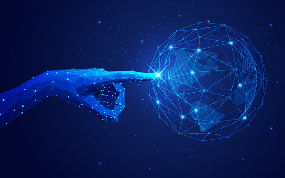 concept of global network or communication technology, futuristic hand pointing on wireframe globe