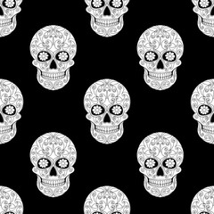 Day of The Dead Skull with floral ornament. Seamless pattern. Mexican sugar skull. Vector illustration