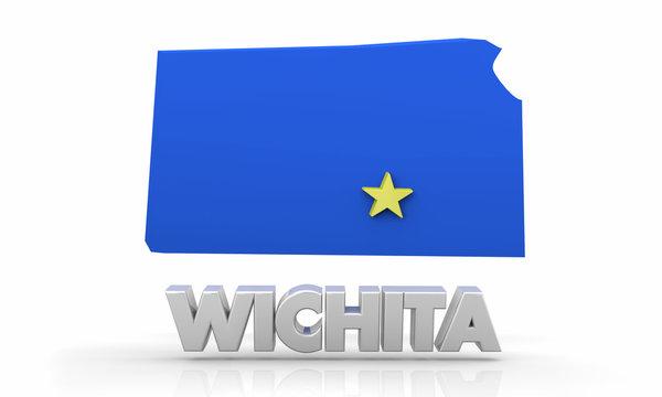 Wichita Kansas KS City State Map 3d Illustration