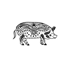 pig decorated silhouette. vector outline. black and white image. chinese traditional symbol of the year 2019