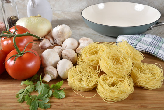 Fresh spaghetti ingredients