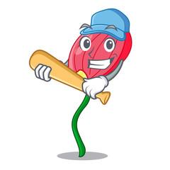 Playing baseball pink anthurium flower in shape cartoon