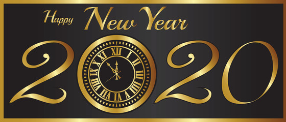 New Year-2020 Gold Clock Over a Black Background