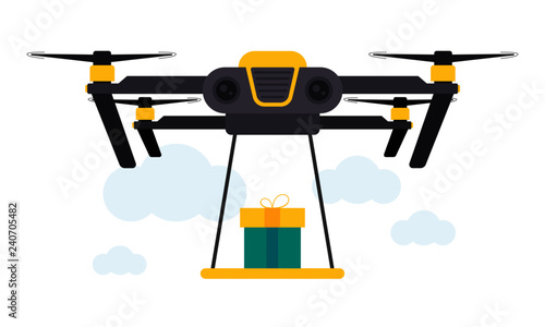 Drone Gift Delivery Concept Vector Illustration  Quadcopter