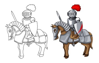 919401059f19b Knights Suit Body Protection Armor with Sword and Shield cartoon  illustration