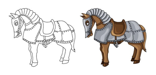 Cartoon character of war horse in armour suit illustration isolated on white