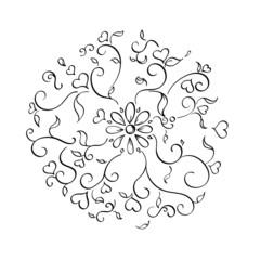 Filigree Flower and Heart Burst