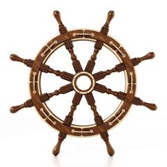 Ship wheel isolated on white background. 3D illustration