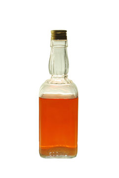 Cognac bottle on a white background. Isolated on white