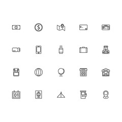 Top 20 Simple Set of Tour and Travel Related Vector Line Icons. Contains such Icons as Card, Backpack, Money, and more. Editable Stroke. Pixel Perfect.