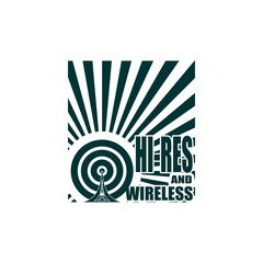 Wi Fi Network Symbol . Mobile gadgets technology relative vector image. Hi res and wireless text on sun rays background