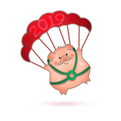 Funny hand-drawn pig. Piggy goes down on a parachute. Chinese New Year.