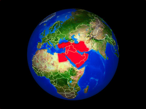 Middle East on planet planet Earth with country borders. Extremely detailed planet surface.