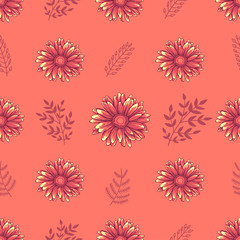 Seamless decorative floral pattern with pink and orange daisy flowers and leaves on light orange background