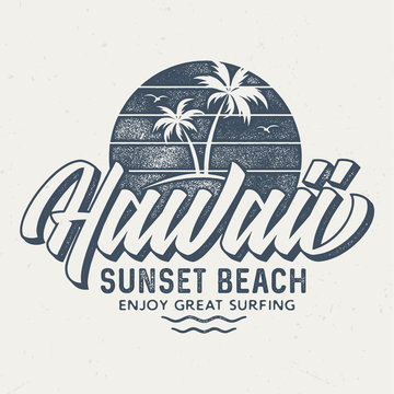 Hawaii Sunset Beach - Aged Tee Design For Printing