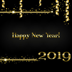 Creative greeting card Happy New Year 2019 on a black background. Luxury gold numbers and text with confetti and shimmering tinsel, serpentine and sparkle stars. Used as a flyer, poster, invitations.
