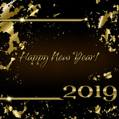 Creative greeting card Happy New Year 2019 and Christmas on the black background in grunge style. Luxury golden numbers and text. Used as a flyer, poster, template, invitation, cover, postcard.