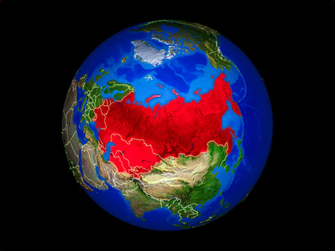 Former Soviet Union on planet planet Earth with country borders. Extremely detailed planet surface.