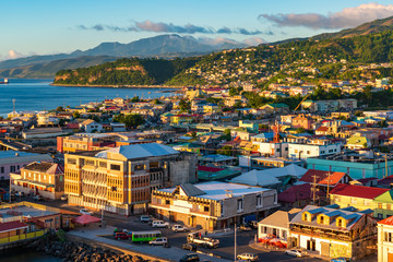Wall Mural - Roseau, city and cruise port of Dominica. Beautiful cityscape view at sunset.