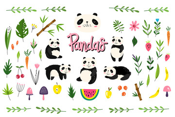 Vector pack with pandas, fruits and plants. Hand-drawn style. Scandinavian motives. Set of 45 elements