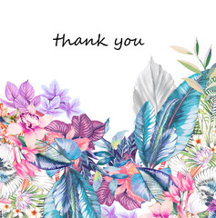 Elegant watercolor tropical flowers and palm leaves