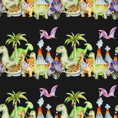 Watercolor cute dinosaurs seamless pattern