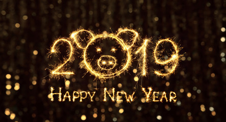 Wide Angle Greeting card Happy New Year 2019